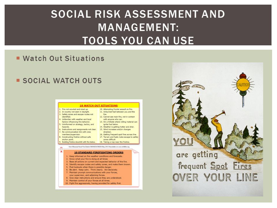 Watch Out Situations SOCIAL WATCH OUTS SOCIAL RISK ASSESSMENT AND MANAGEMENT: TOOLS YOU CAN USE