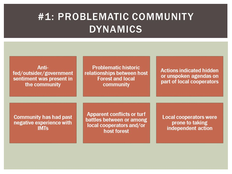 Anti- fed/outsider/government sentiment was present in the community Problematic historic relationships between host Forest and local community Actions indicated hidden or unspoken agendas on part of local cooperators Community has had past negative experience with IMTs Apparent conflicts or turf battles between or among local cooperators and/or host forest Local cooperators were prone to taking independent action #1: PROBLEMATIC COMMUNITY DYNAMICS