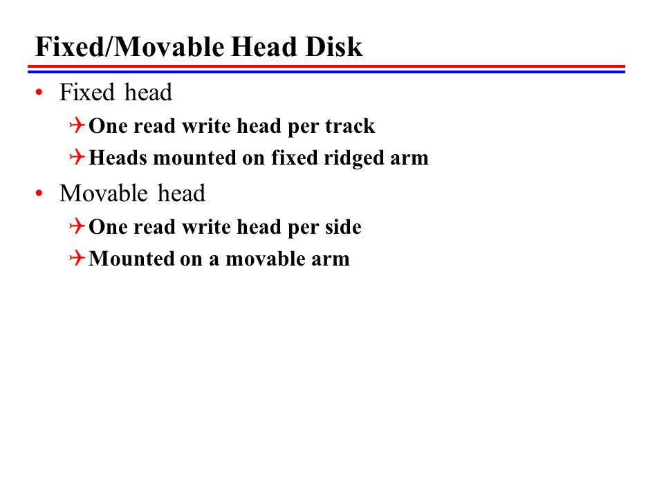 Fixed/Movable Head Disk Fixed head One read write head per track Heads mounted on fixed ridged arm Movable head One read write head per side Mounted on a movable arm