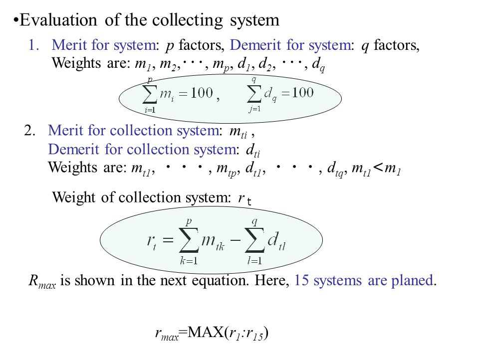 Evaluation of the collecting system 1.Merit for system: p factors, Demerit for system: q factors, Weights are: m 1, m 2,, m p, d 1, d 2,, d q, 2.