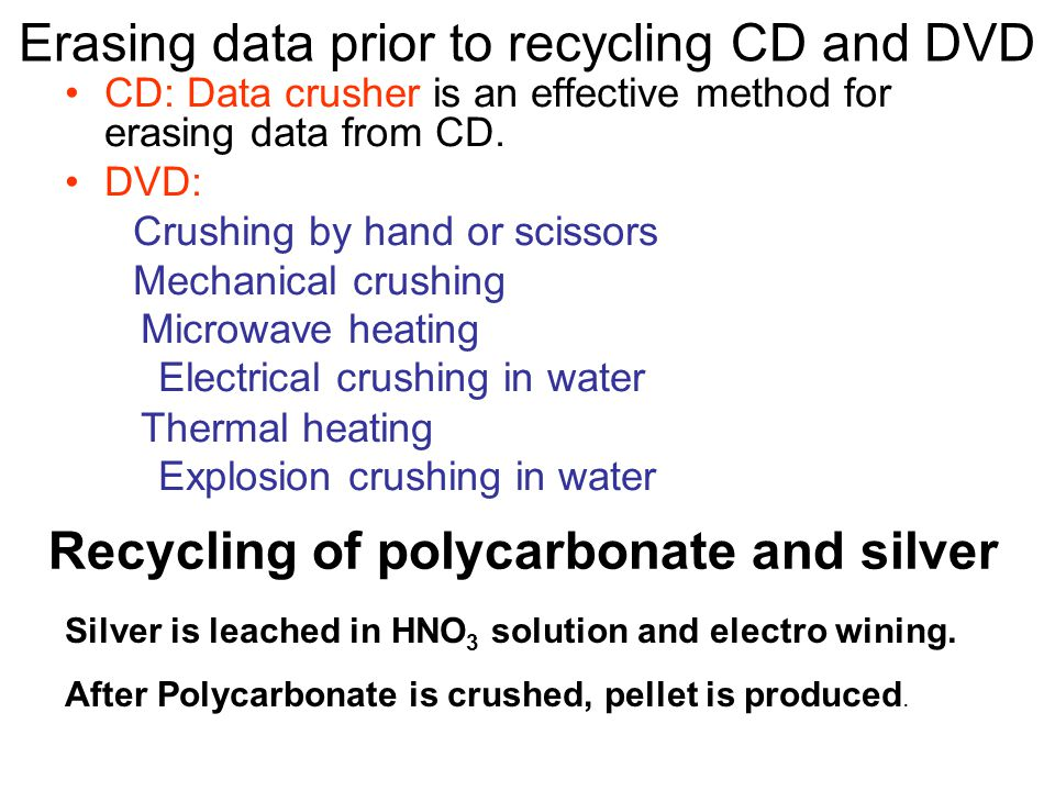 Erasing data prior to recycling CD and DVD CD: Data crusher is an effective method for erasing data from CD.