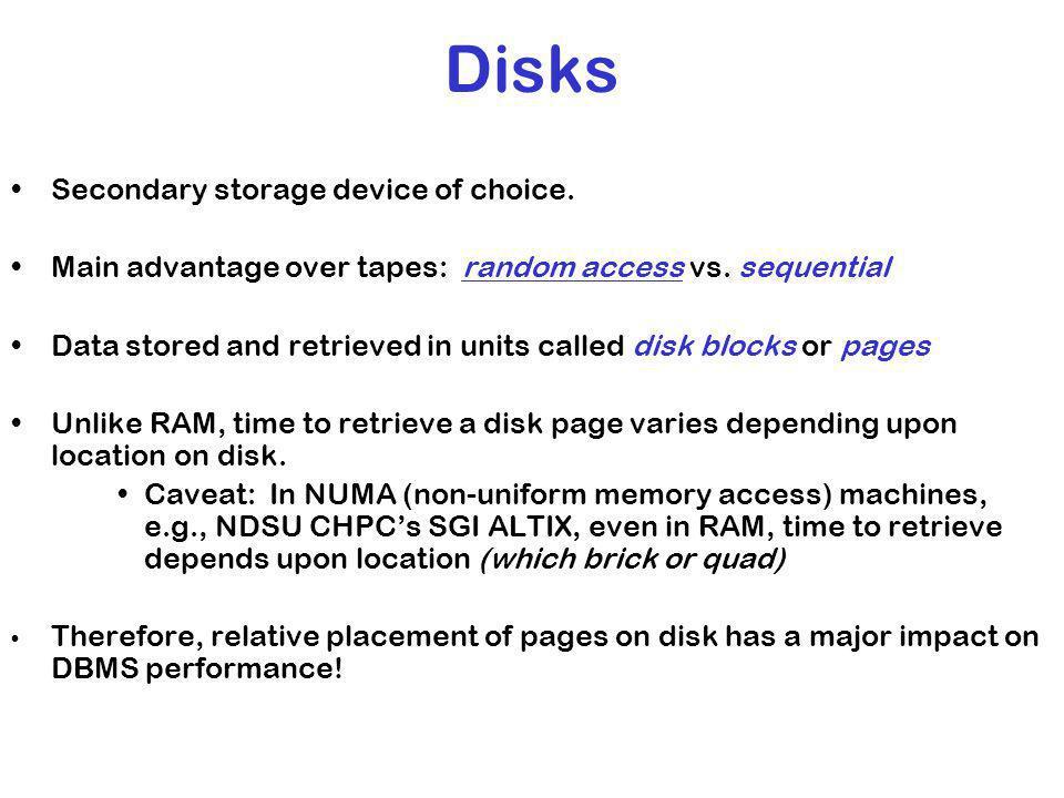 Disks Secondary storage device of choice.Main advantage over tapes: random access vs.