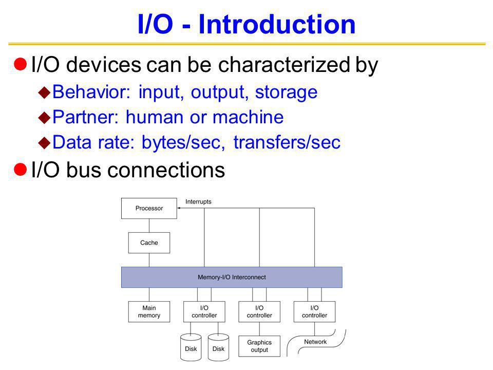 I/O - Introduction I/O devices can be characterized by Behavior: input, output, storage Partner: human or machine Data rate: bytes/sec, transfers/sec I/O bus connections
