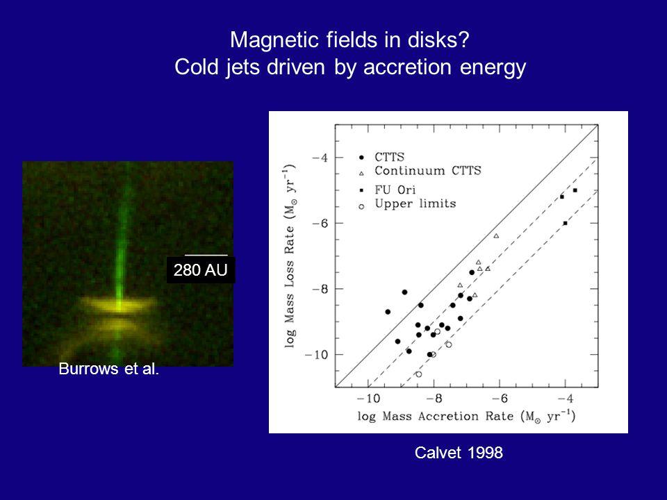 Calvet 1998 Magnetic fields in disks Cold jets driven by accretion energy 280 AU Burrows et al.