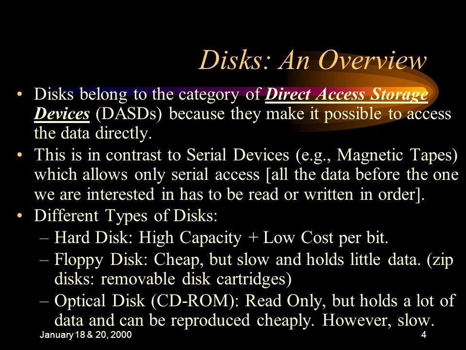 January 18 & 20, 200015 Data Organization: II.