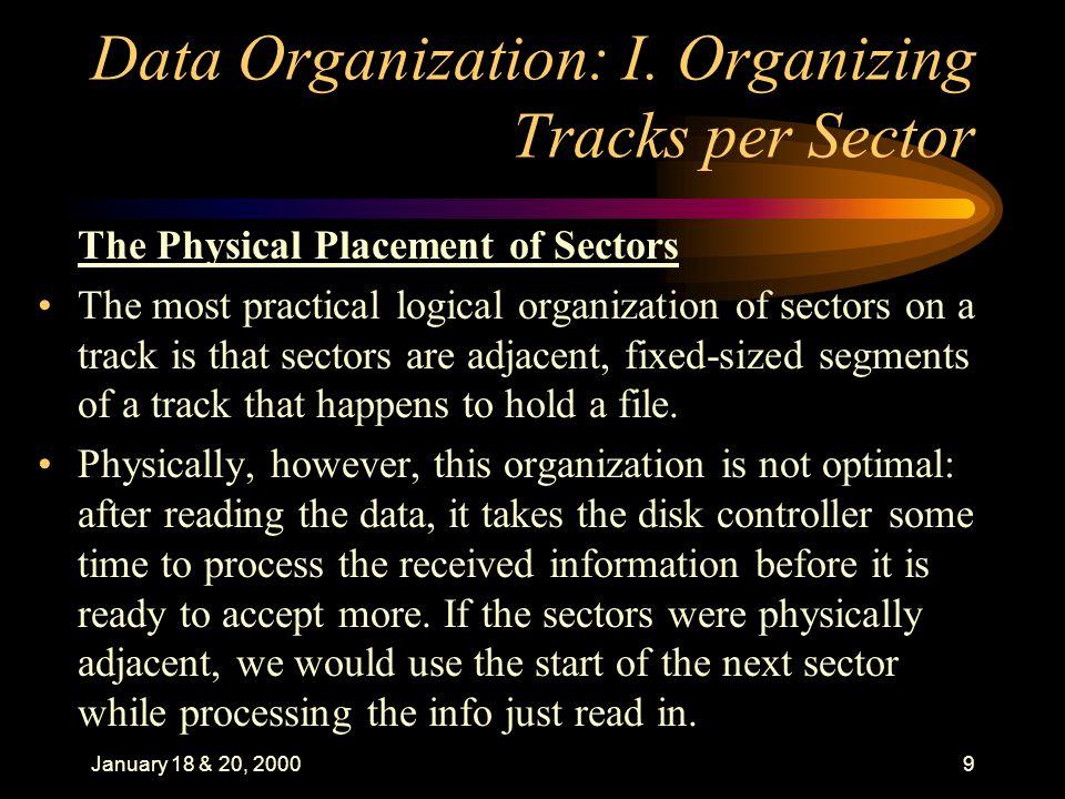 January 18 & 20, 200010 Data Organization: I.
