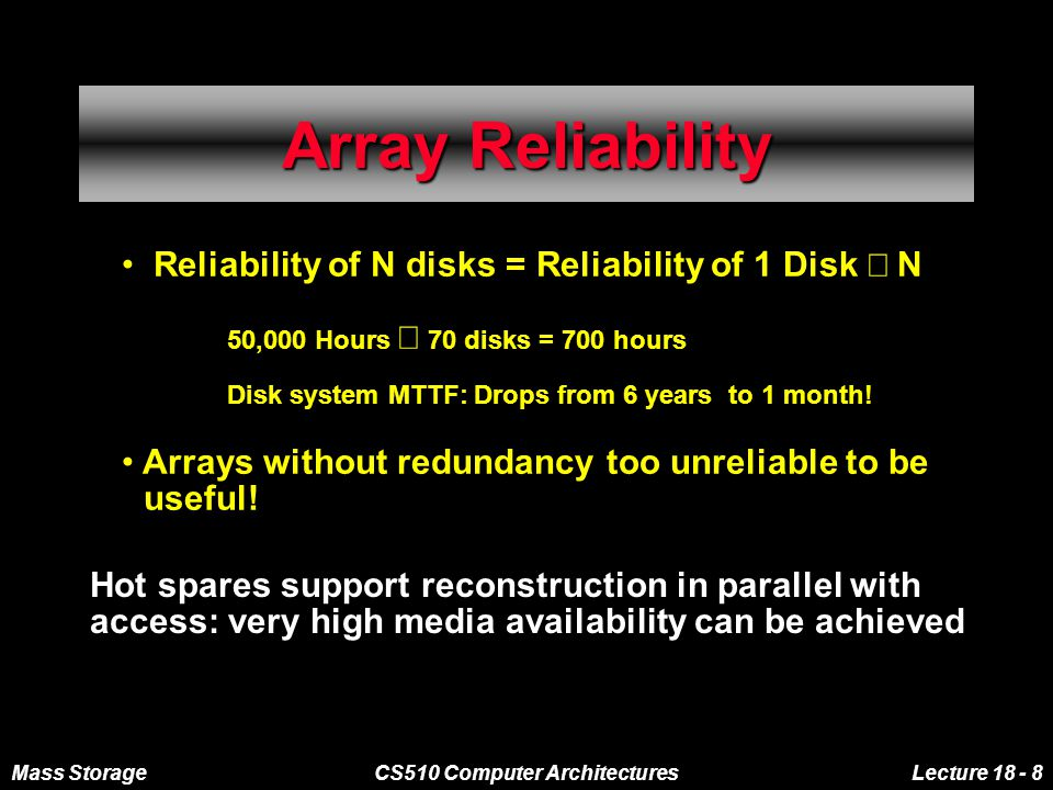 Mass StorageCS510 Computer ArchitecturesLecture 18 - 19 Memory Hierarchies File Cache Hard Disk Tapes General Purpose Computing Environment Memory Hierarchy 1980 Off Line Storage On-Line Near-Line Disk Arrays Memory Hierarchy 1995 File Cache SSD High I/O Rate Disks High Data Rate Disks Optical Juke Box Automated Tape Libraries Low $/Actuator Low $/MB Remote Archive