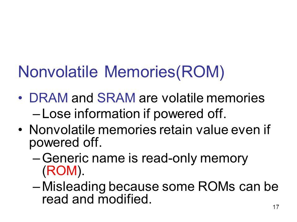 17 Nonvolatile Memories(ROM) DRAM and SRAM are volatile memories –Lose information if powered off. Nonvolatile memories retain value even if powered o