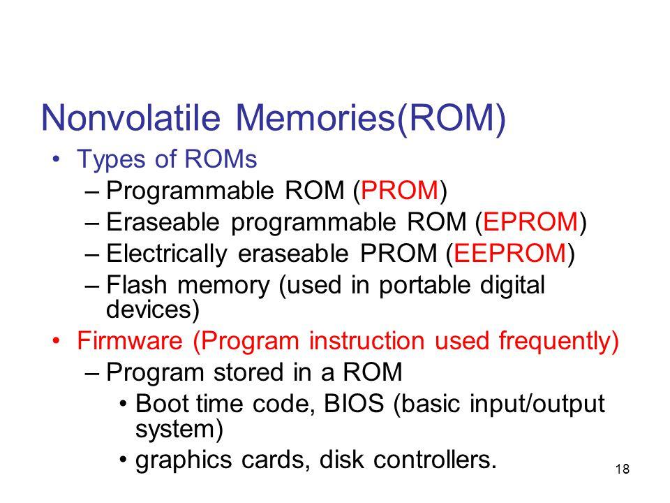 18 Nonvolatile Memories(ROM) Types of ROMs –Programmable ROM (PROM) –Eraseable programmable ROM (EPROM) –Electrically eraseable PROM (EEPROM) –Flash m
