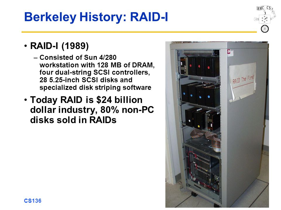 CS136 23 Berkeley History: RAID-I RAID-I (1989) –Consisted of Sun 4/280 workstation with 128 MB of DRAM, four dual-string SCSI controllers, 28 5.25-inch SCSI disks and specialized disk striping software Today RAID is $24 billion dollar industry, 80% non-PC disks sold in RAIDs