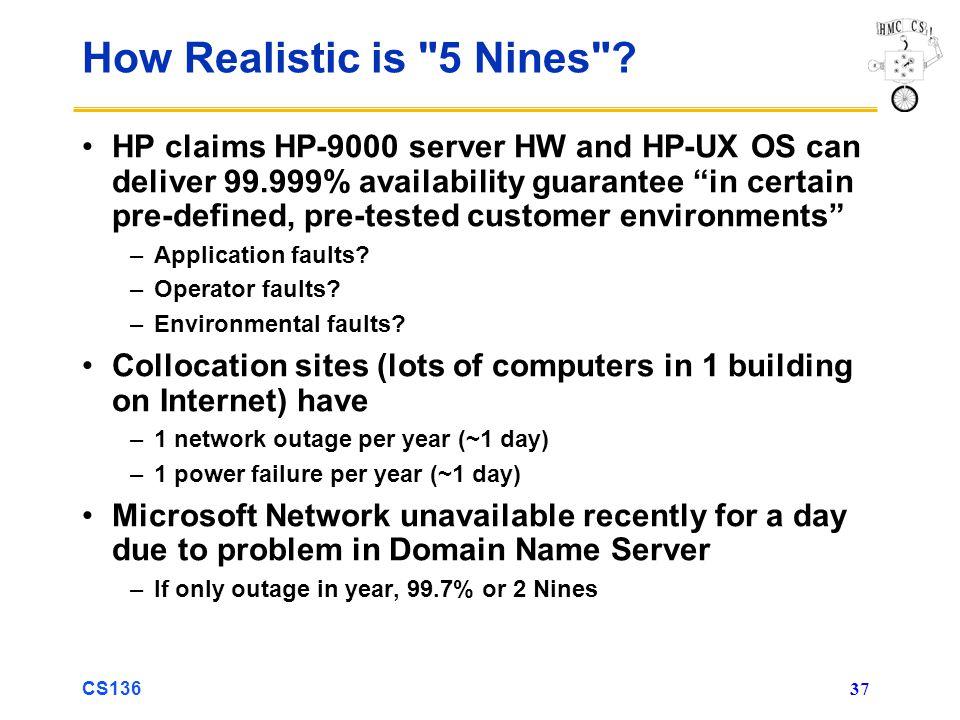 CS136 37 How Realistic is 5 Nines .