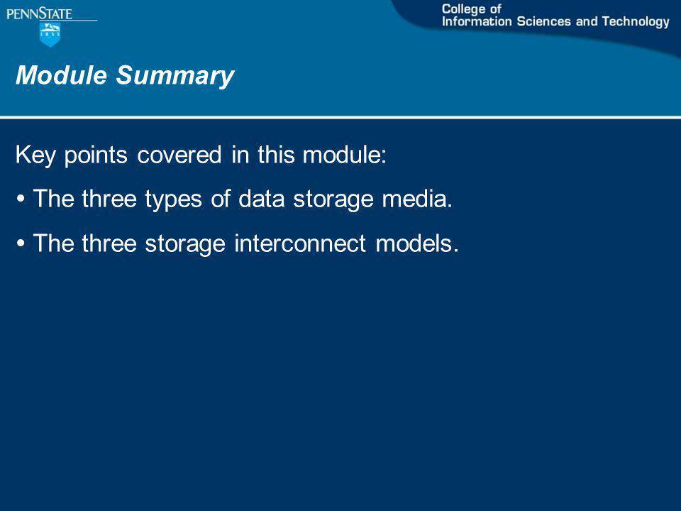 Module Summary Key points covered in this module: The three types of data storage media.