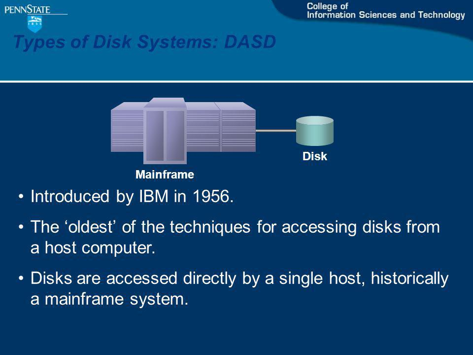 Types of Disk Systems: DASD Mainframe Disk Introduced by IBM in 1956.