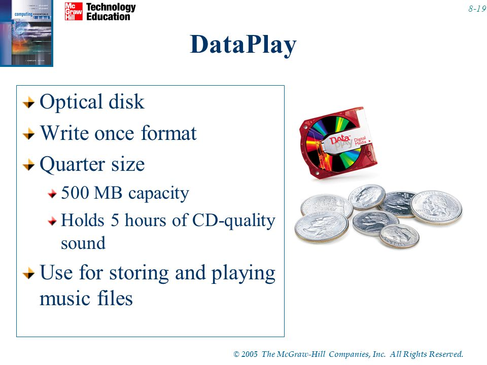 © 2005 The McGraw-Hill Companies, Inc. All Rights Reserved. 8-19 DataPlay Optical disk Write once format Quarter size 500 MB capacity Holds 5 hours of