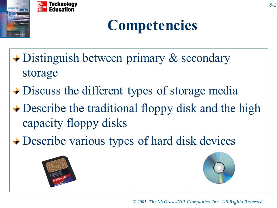 © 2005 The McGraw-Hill Companies, Inc. All Rights Reserved. 8-2 Competencies Distinguish between primary & secondary storage Discuss the different typ