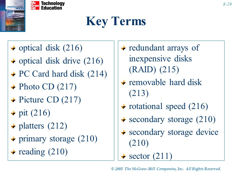 © 2005 The McGraw-Hill Companies, Inc. All Rights Reserved. 8-29 Key Terms optical disk (216) optical disk drive (216) PC Card hard disk (214) Photo C