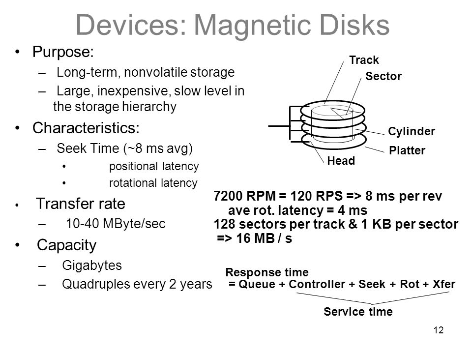 12 Devices: Magnetic Disks Sector Track Cylinder Head Platter Purpose: – Long-term, nonvolatile storage – Large, inexpensive, slow level in the storage hierarchy Characteristics: – Seek Time (~8 ms avg) positional latency rotational latency Transfer rate – 10-40 MByte/sec Capacity –Gigabytes –Quadruples every 2 years 7200 RPM = 120 RPS => 8 ms per rev ave rot.