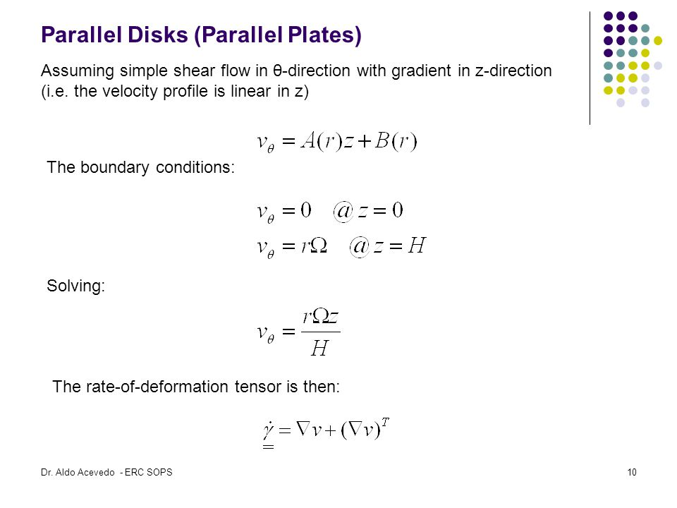 Parallel Disks (Parallel Plates) Assuming simple shear flow in θ-direction with gradient in z-direction (i.e.
