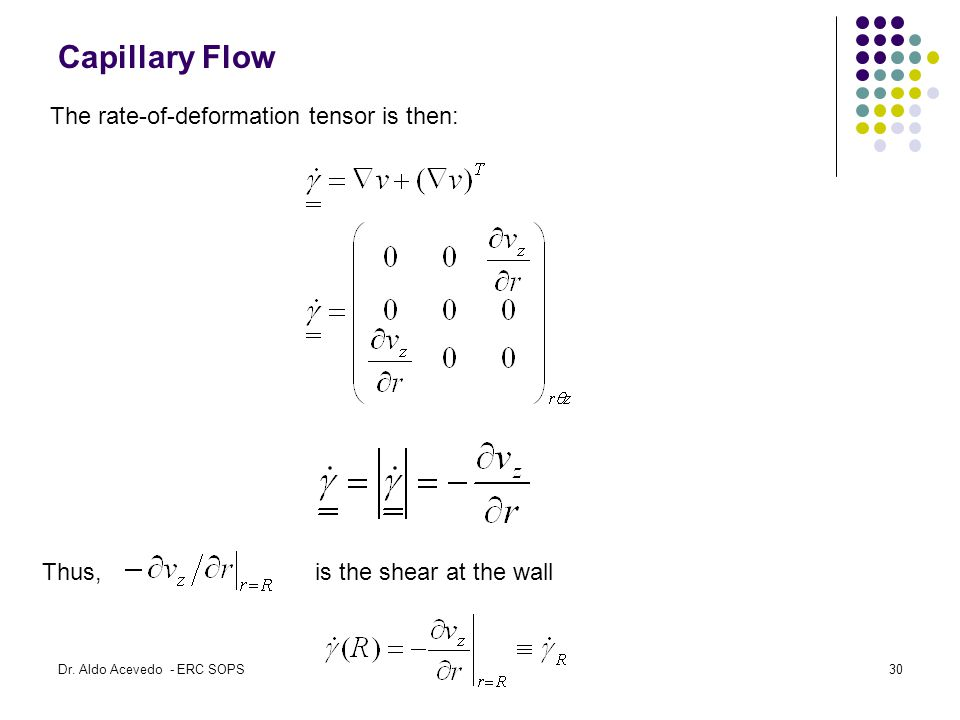 Capillary Flow Thus, is the shear at the wall The rate-of-deformation tensor is then: Dr.
