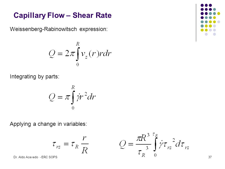 Weissenberg-Rabinowitsch expression: Integrating by parts: Applying a change in variables: Capillary Flow – Shear Rate Dr.
