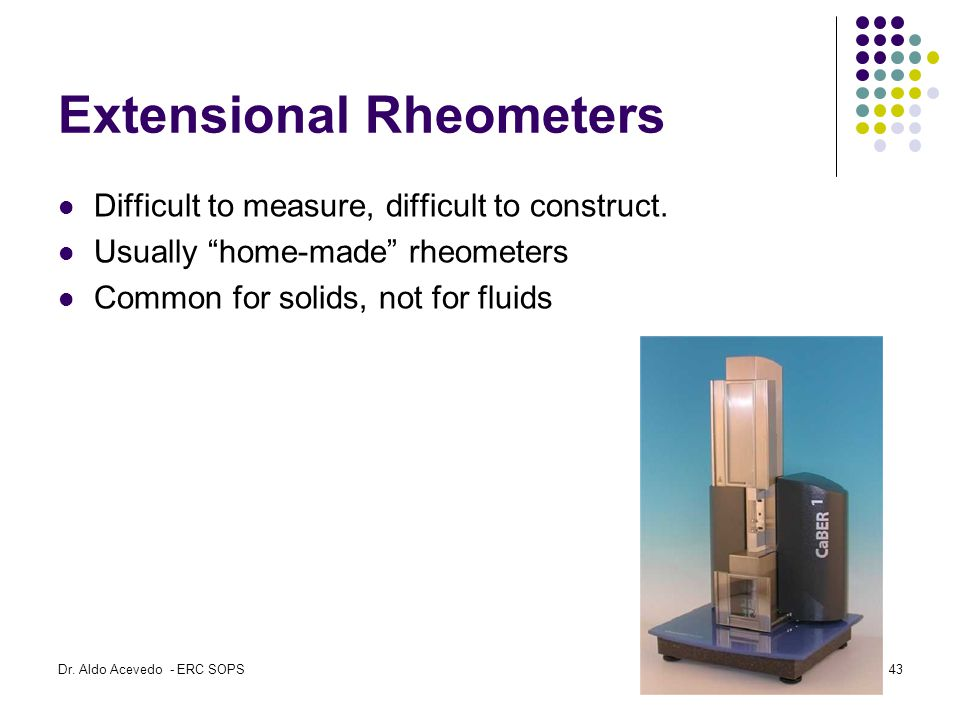 Extensional Rheometers Difficult to measure, difficult to construct.
