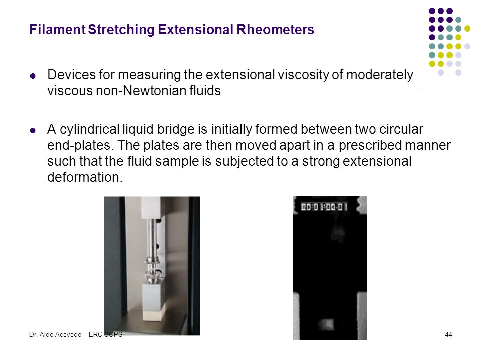 Filament Stretching Extensional Rheometers Devices for measuring the extensional viscosity of moderately viscous non-Newtonian fluids A cylindrical liquid bridge is initially formed between two circular end-plates.