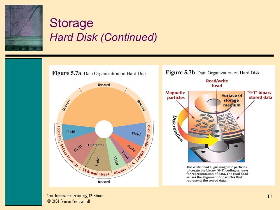 11 Senn, Information Technology, 3 rd Edition © 2004 Pearson Prentice Hall Storage Hard Disk (Continued)