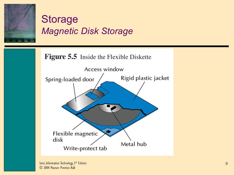 9 Senn, Information Technology, 3 rd Edition © 2004 Pearson Prentice Hall Storage Magnetic Disk Storage