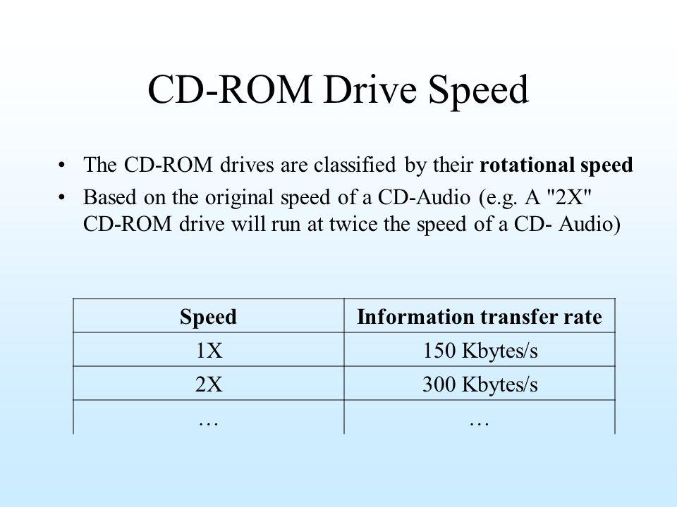 CD-ROM Drive Speed The CD-ROM drives are classified by their rotational speed Based on the original speed of a CD-Audio (e.g. A
