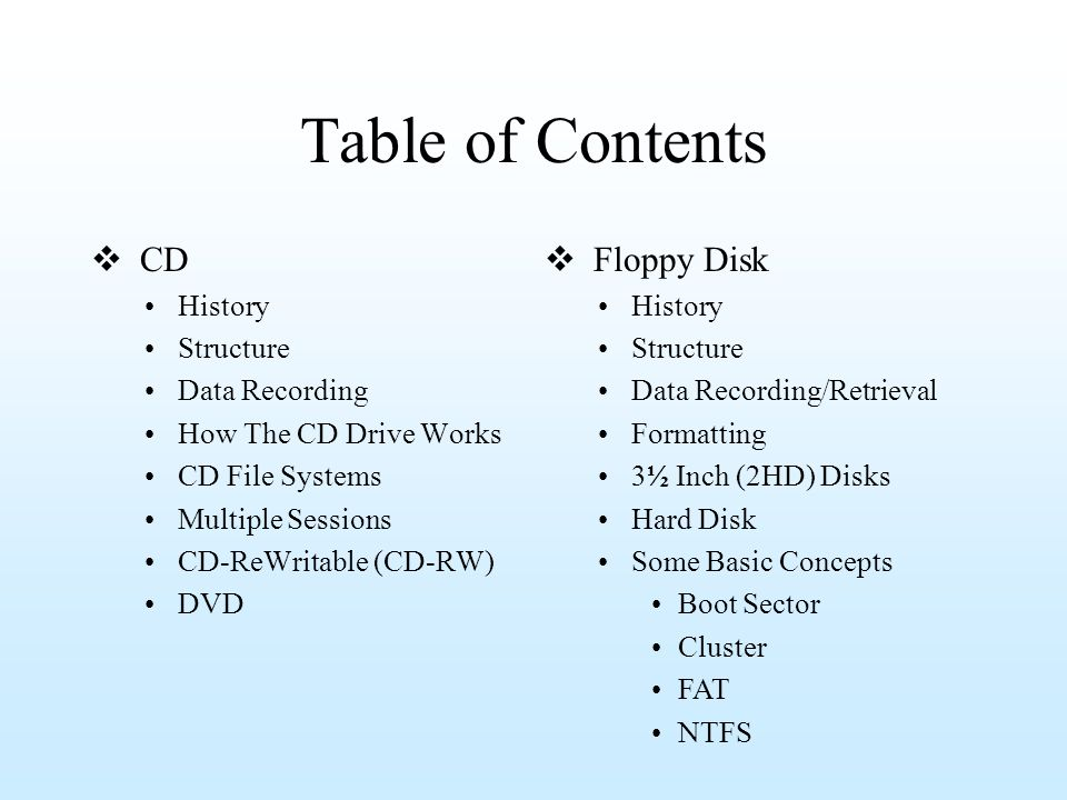 Table of Contents CD History Structure Data Recording How The CD Drive Works CD File Systems Multiple Sessions CD-ReWritable (CD-RW) DVD Floppy Disk H