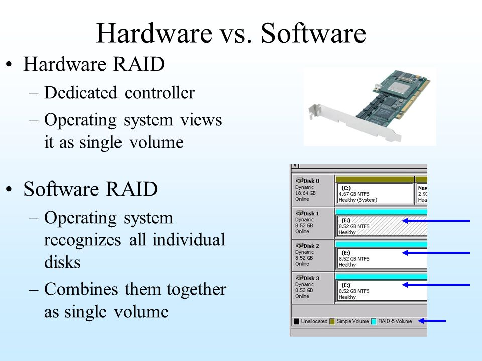 Hardware vs. Software Hardware RAID –Dedicated controller –Operating system views it as single volume Software RAID –Operating system recognizes all i