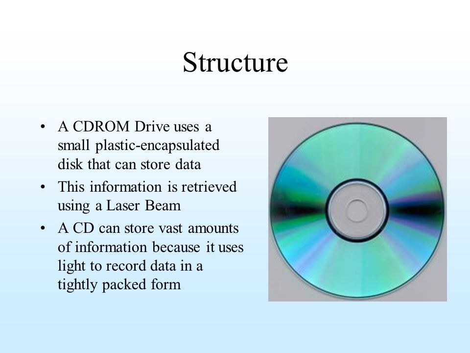 Hard Disk Fixed and removable Fast (disk rotates at 60 to 200 times per second) Currently 20 – 2 TB (may be limited by the version of the operating system) Like floppies, uses the magnetic properties of the coating material, but the technology is different