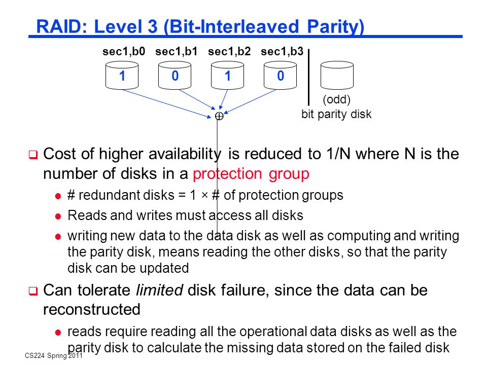 CS224 Spring 2011 RAID: Level 3 (Bit-Interleaved Parity) Cost of higher availability is reduced to 1/N where N is the number of disks in a protection group # redundant disks = 1 × # of protection groups Reads and writes must access all disks writing new data to the data disk as well as computing and writing the parity disk, means reading the other disks, so that the parity disk can be updated Can tolerate limited disk failure, since the data can be reconstructed reads require reading all the operational data disks as well as the parity disk to calculate the missing data stored on the failed disk sec1,b0sec1,b2sec1,b1sec1,b3 1001 (odd) bit parity disk