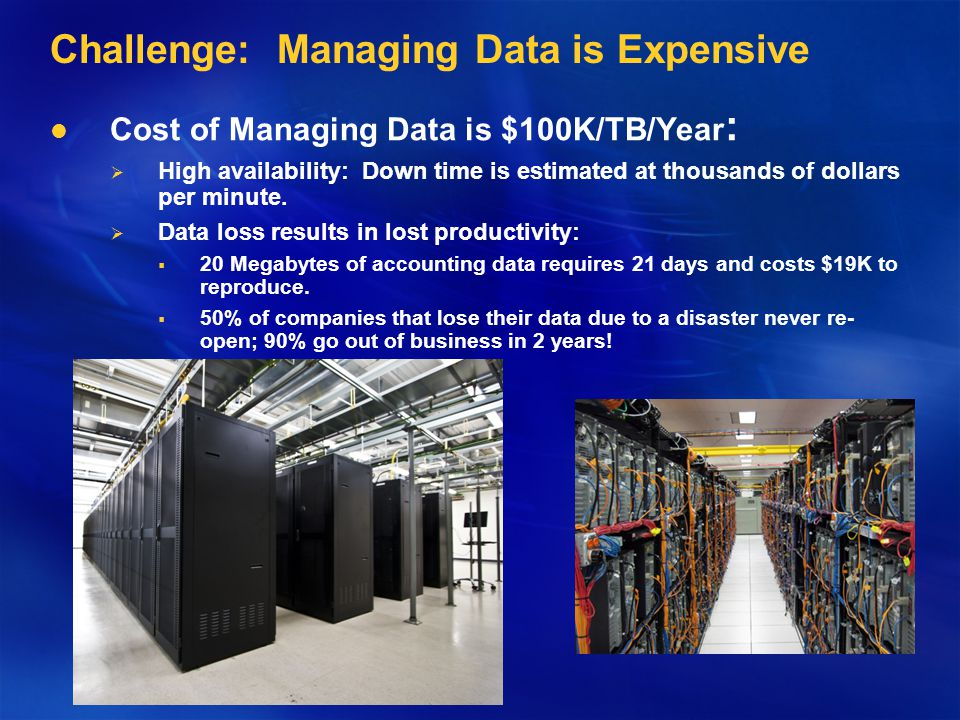 Challenge: Managing Data is Expensive Cost of Managing Data is $100K/TB/Year : High availability: Down time is estimated at thousands of dollars per minute.
