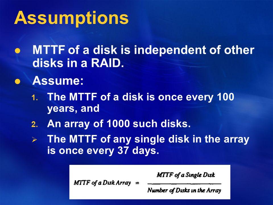 RAID RAID organizes D disks into nG groups where each group consists of G disks and C parity disks.