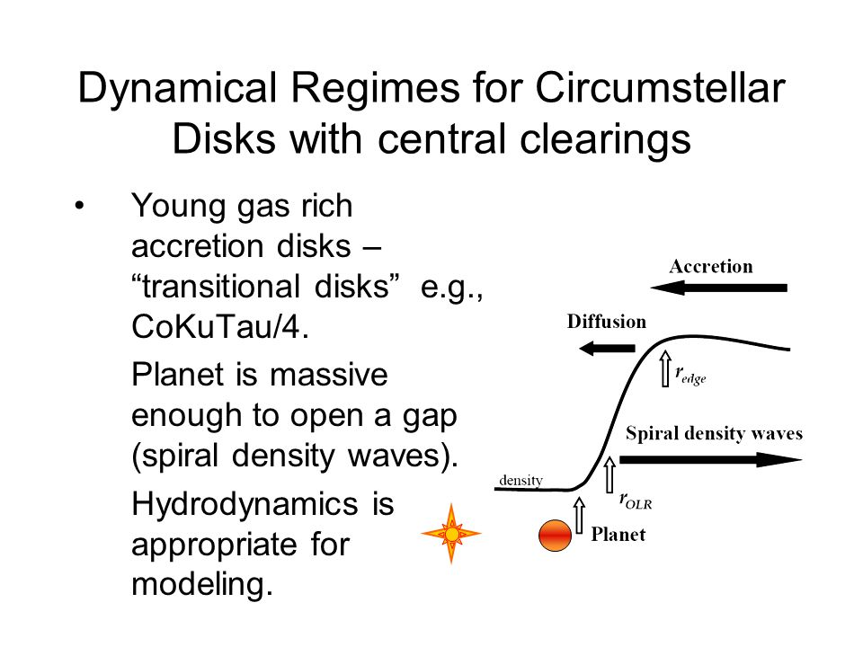 Dynamical Regimes for Circumstellar Disks with central clearings Young gas rich accretion disks – transitional disks e.g., CoKuTau/4.