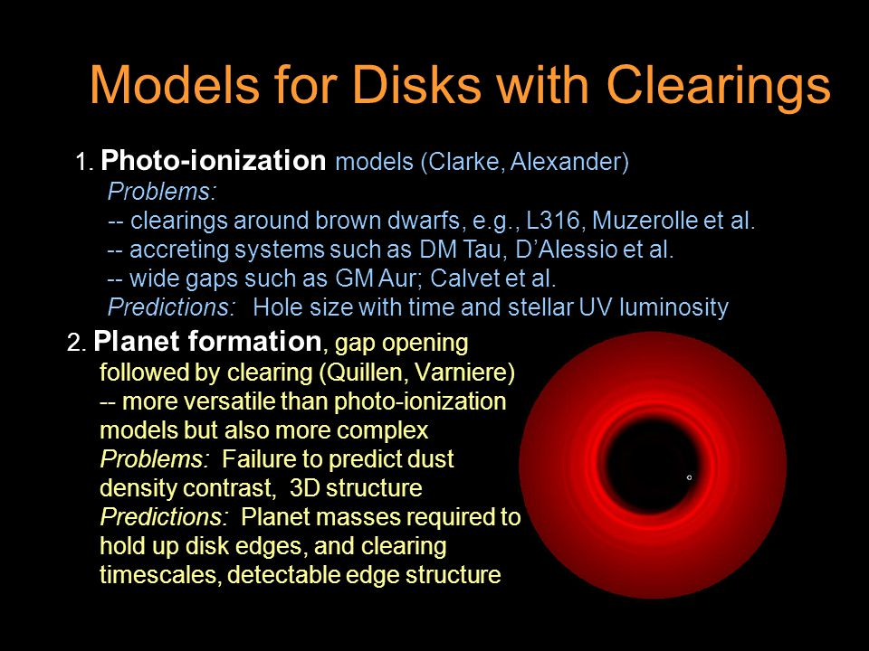 Models for Disks with Clearings 2.