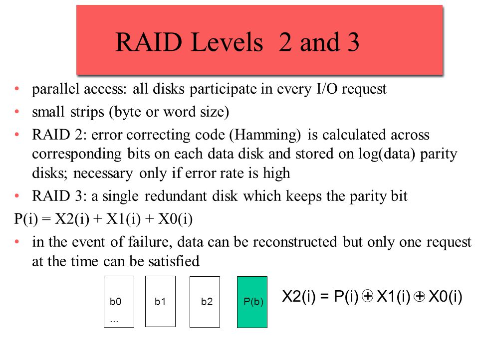 RAID Levels 2 and 3... parallel access: all disks participate in every I/O request small strips (byte or word size) RAID 2: error correcting code (Ham