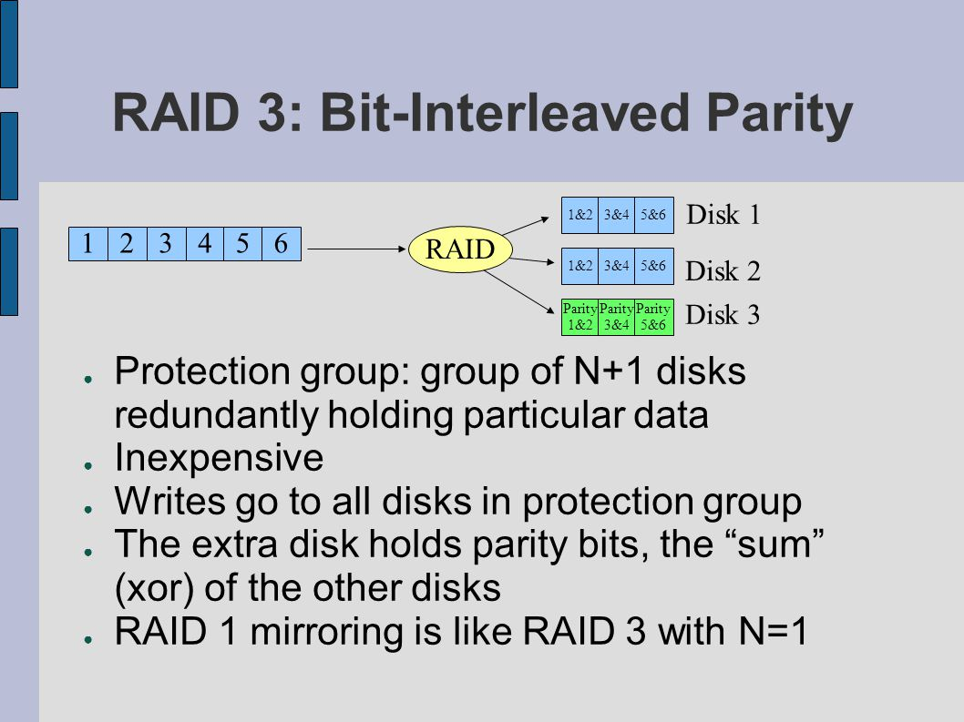 RAID 3: Bit-Interleaved Parity Protection group: group of N+1 disks redundantly holding particular data Inexpensive Writes go to all disks in protecti