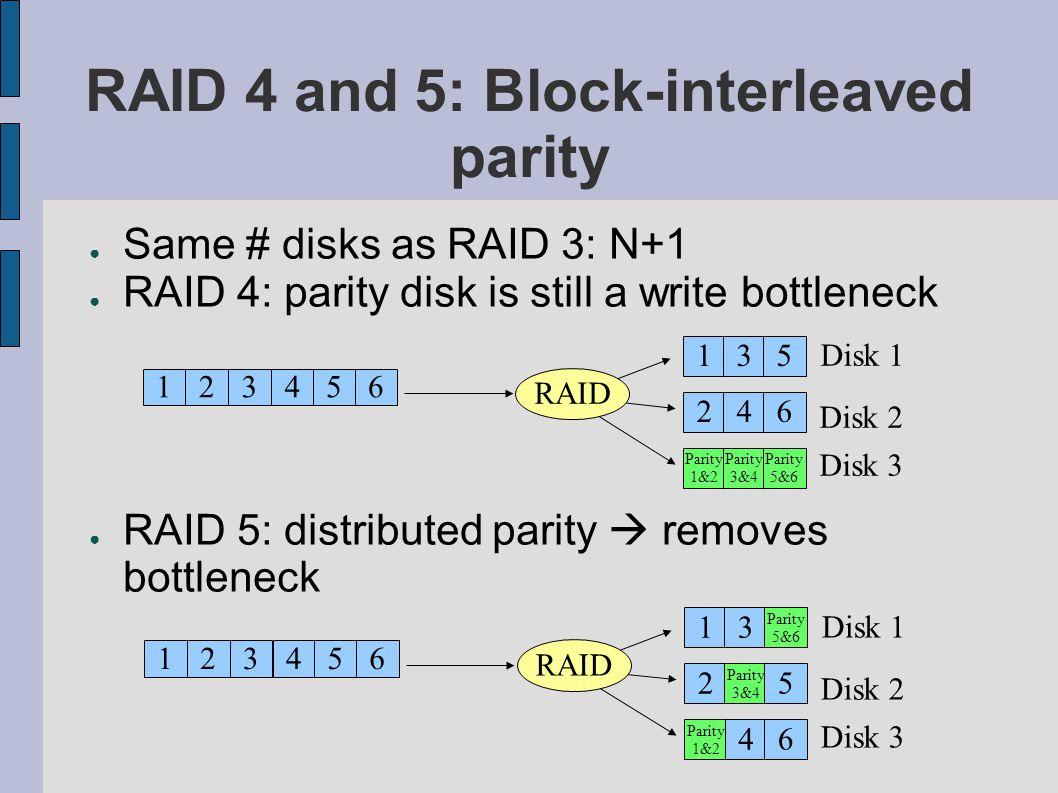 RAID 4 and 5: Block-interleaved parity Same # disks as RAID 3: N+1 RAID 4: parity disk is still a write bottleneck RAID 5: distributed parity removes