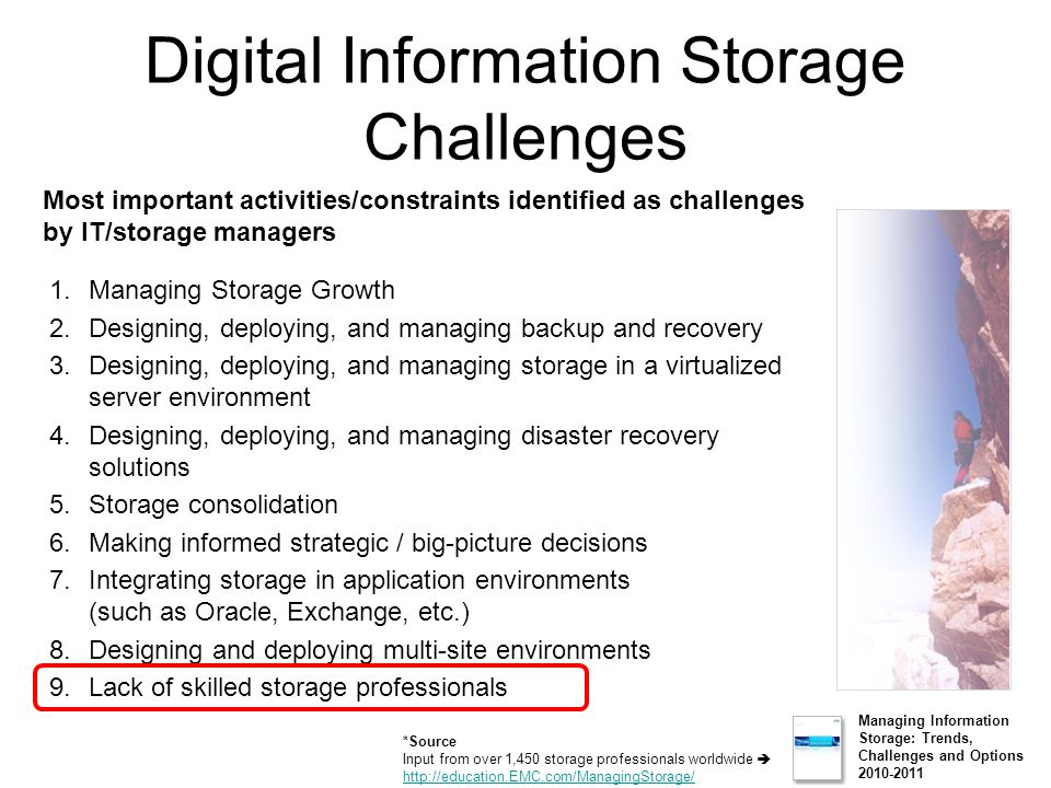 Digital Information Storage Challenges 1.Managing Storage Growth 2.Designing, deploying, and managing backup and recovery 3.Designing, deploying, and