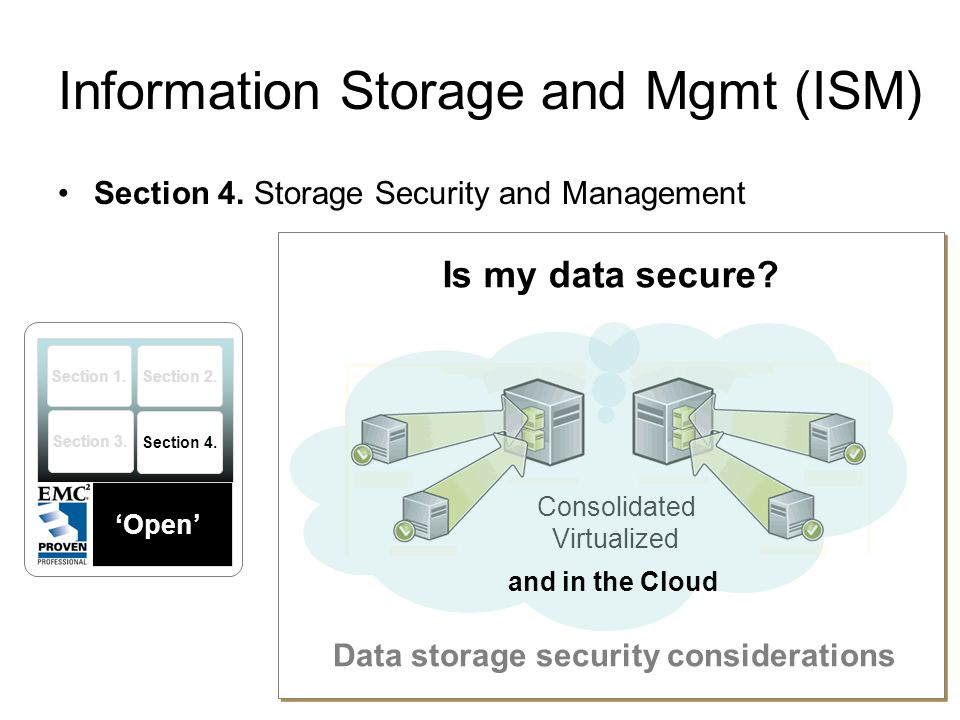 Information Storage and Mgmt (ISM) Section 4. Storage Security and Management KEY CONCEPT COVERAGE Storage Security Framework The Risk Triad Security
