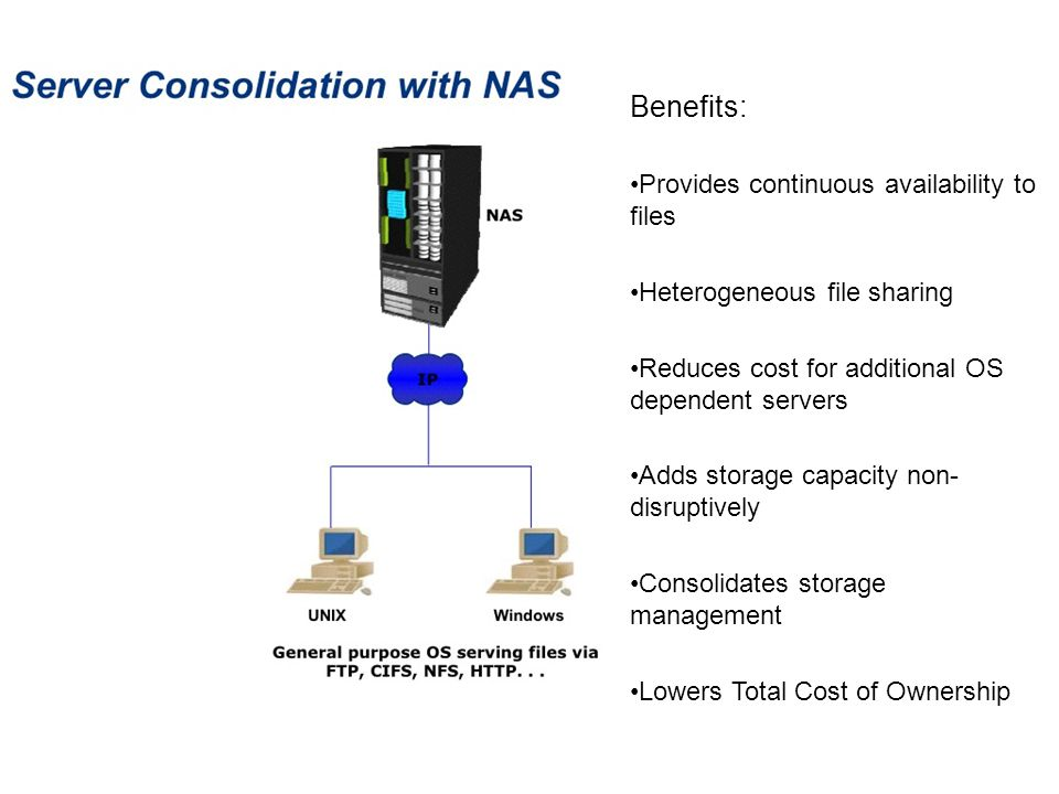 Benefits: Provides continuous availability to files Heterogeneous file sharing Reduces cost for additional OS dependent servers Adds storage capacity