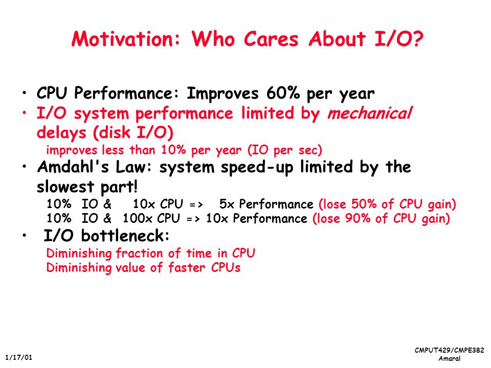 CMPUT429/CMPE382 Amaral 1/17/01 Motivation: Who Cares About I/O.