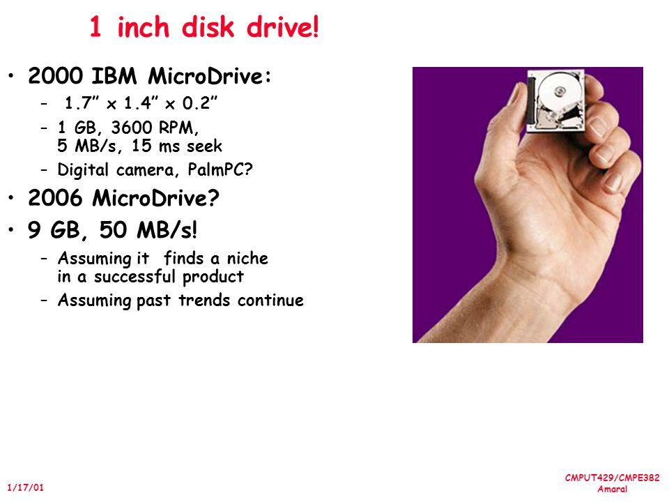 CMPUT429/CMPE382 Amaral 1/17/01 1 inch disk drive! 2000 IBM MicroDrive: – 1.7 x 1.4 x 0.2 –1 GB, 3600 RPM, 5 MB/s, 15 ms seek –Digital camera, PalmPC?