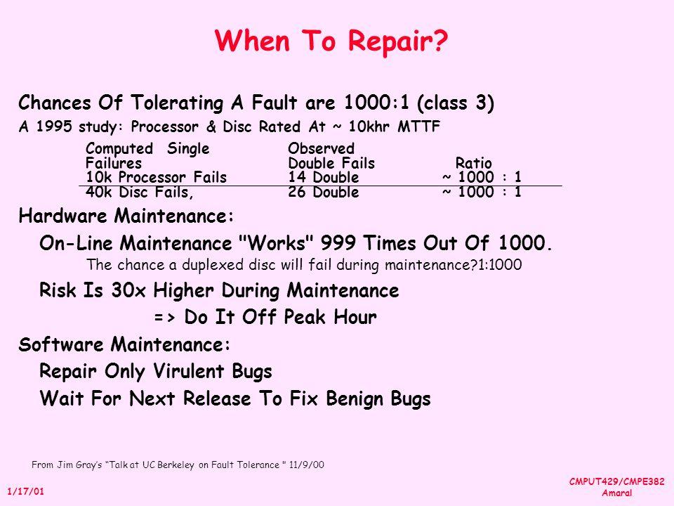 CMPUT429/CMPE382 Amaral 1/17/01 When To Repair.