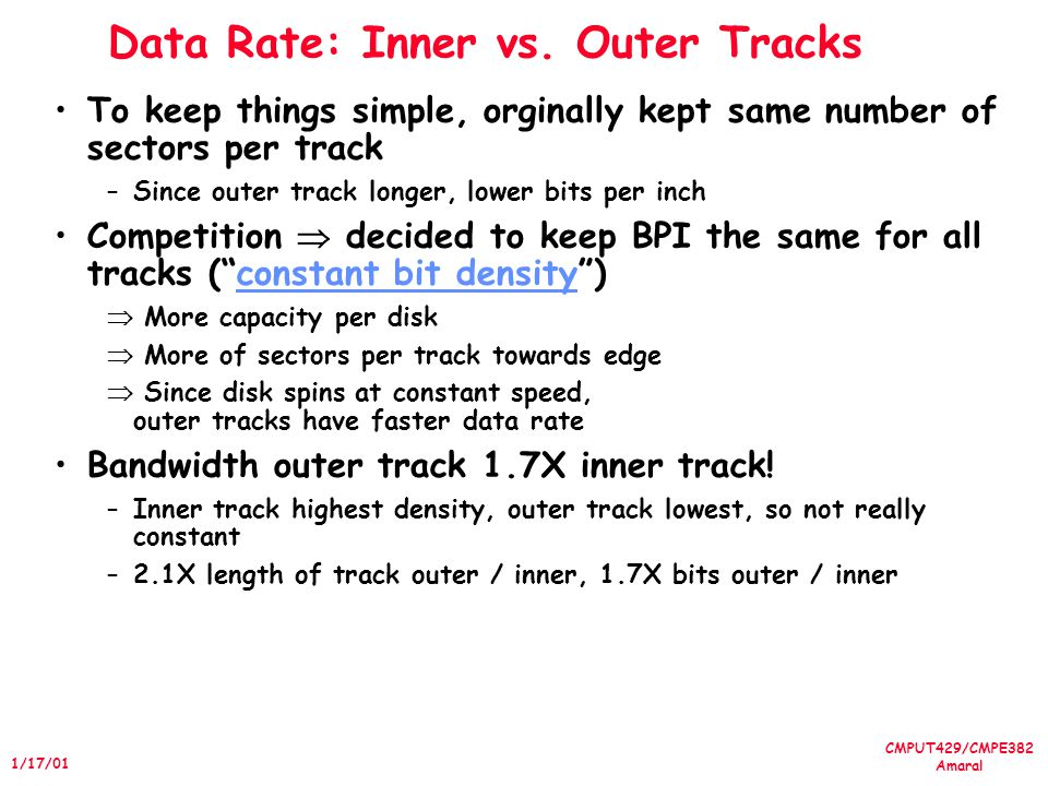 CMPUT429/CMPE382 Amaral 1/17/01 Data Rate: Inner vs. Outer Tracks To keep things simple, orginally kept same number of sectors per track –Since outer