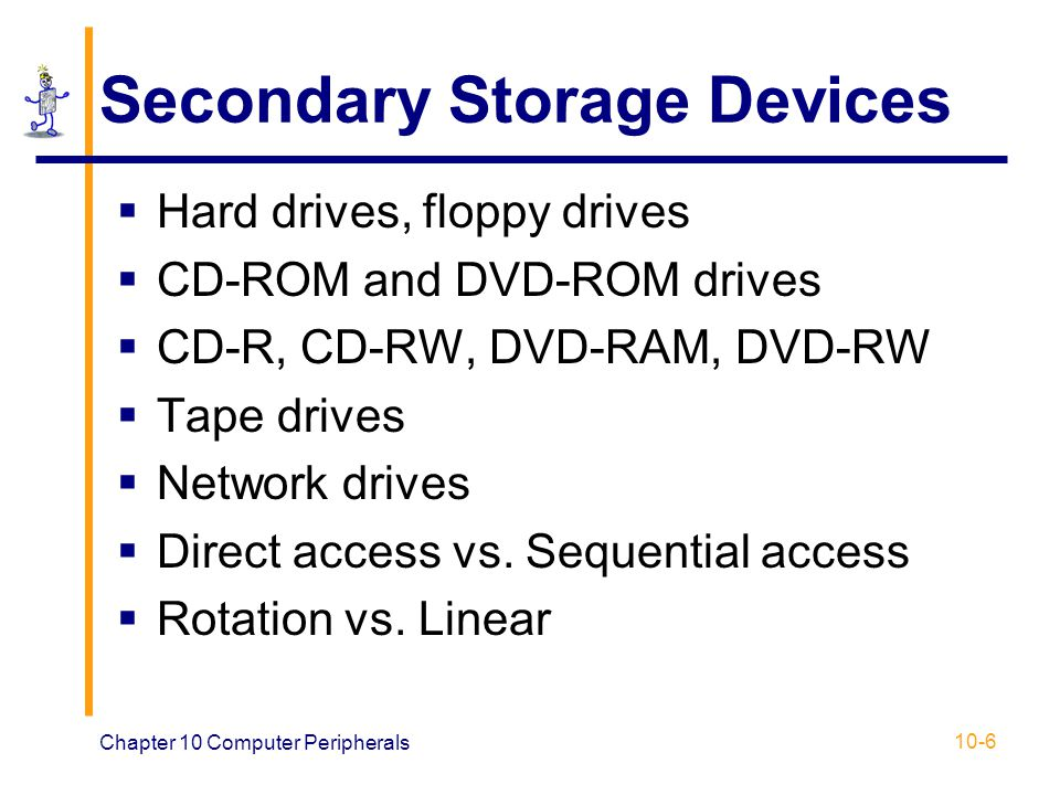 Chapter 10 Computer Peripherals 10-17 Layout: CD-ROM vs. Standard Disk CD-ROMHard Disk
