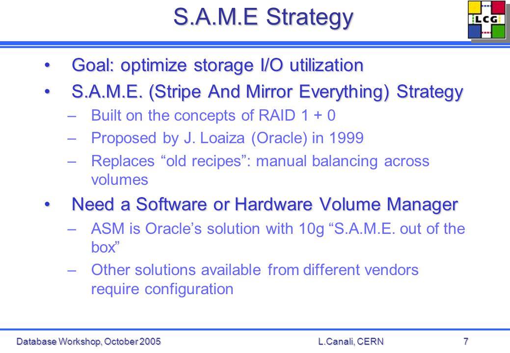 Database Workshop, October 2005L.Canali, CERN7 S.A.M.E Strategy Goal: optimize storage I/O utilizationGoal: optimize storage I/O utilization S.A.M.E.