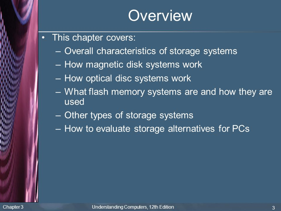 Chapter 3 Understanding Computers, 12th Edition 14 Hard Disk Drives (HDDs) Organized into tracks, sectors, and clusters like floppy disks Also use cylinders (the collection of tracks located in the same location on a set of hard disc surfaces)